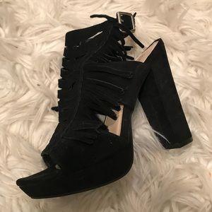 Bar lll fringe platform heels